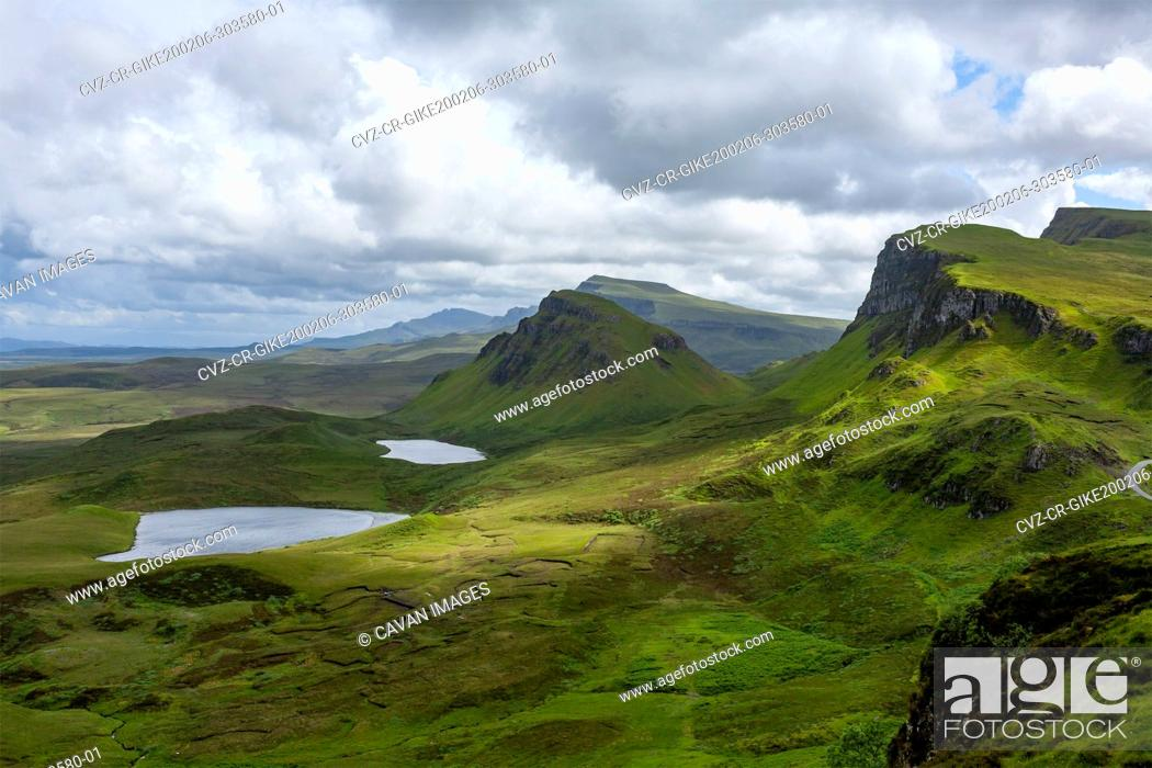Stock Photo: Lochs, Blue Sky with Clouds in Quiraing Isle of Skye Scotland.