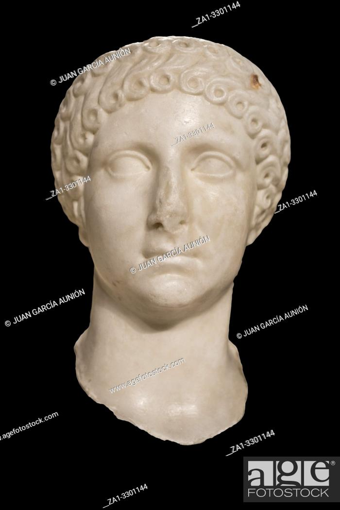 Stock Photo: Anciant Roman bust of Poppaea, Neros wife at National Archeological Museum of Madrid.
