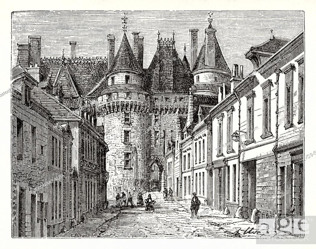 Stock Photo: Langeais Chateau. UNESCO World Heritage Site, Loire Valley, France. Old XIX century engraving illustration. Les Français Illustres by Gustave Demoulin 1897.