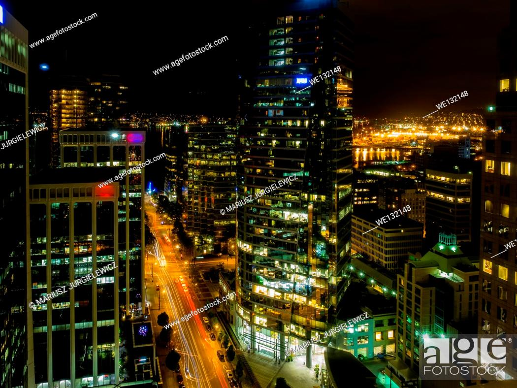 Stock Photo: Burrard Street is a major thoroughfare in Vancouver, British Columbia, Canada. It is the central street of Downtown Vancouver and the Financial District.