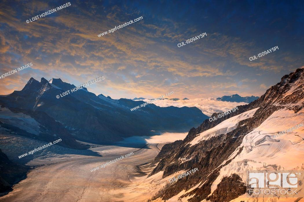 Stock Photo: The Aletsch Glacier view from the top of the Jungfrau, Alps, Canton Bern, Switzerland.