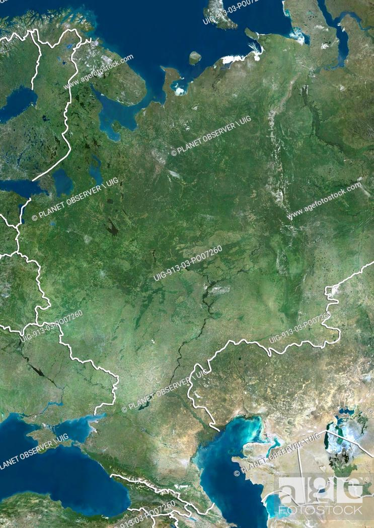 Imagen: Satellite view of Central Russia (with country boundaries). This image was compiled from data acquired by Landsat satellites.