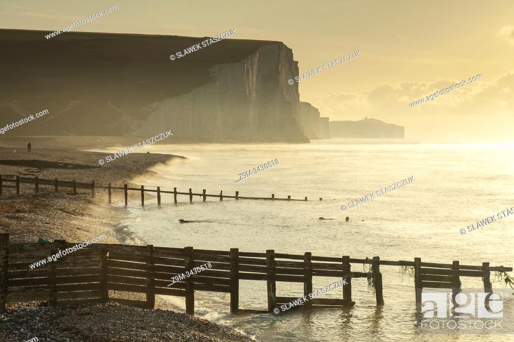 Stock Photo: Autumn sunrise at Seven Sisters cliffs in East Sussex, England. South Downs National Park.