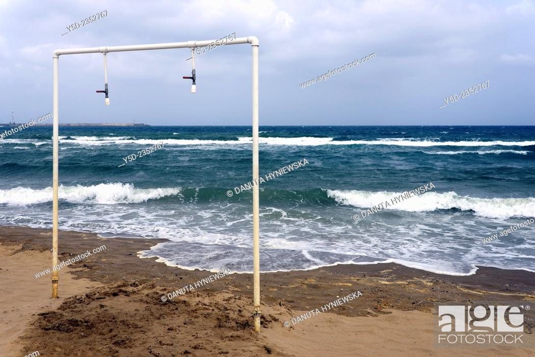 Stock Photo: simple showers directly on the beach, Catania beach, Sicily, Italy, Europe.