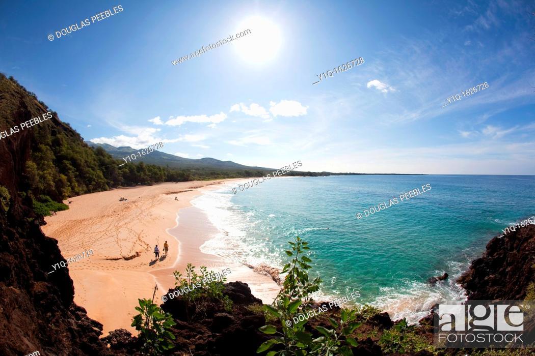 Stock Photo: Makena Beach, Oneloa, Big Beach, Maui, Hawaii.