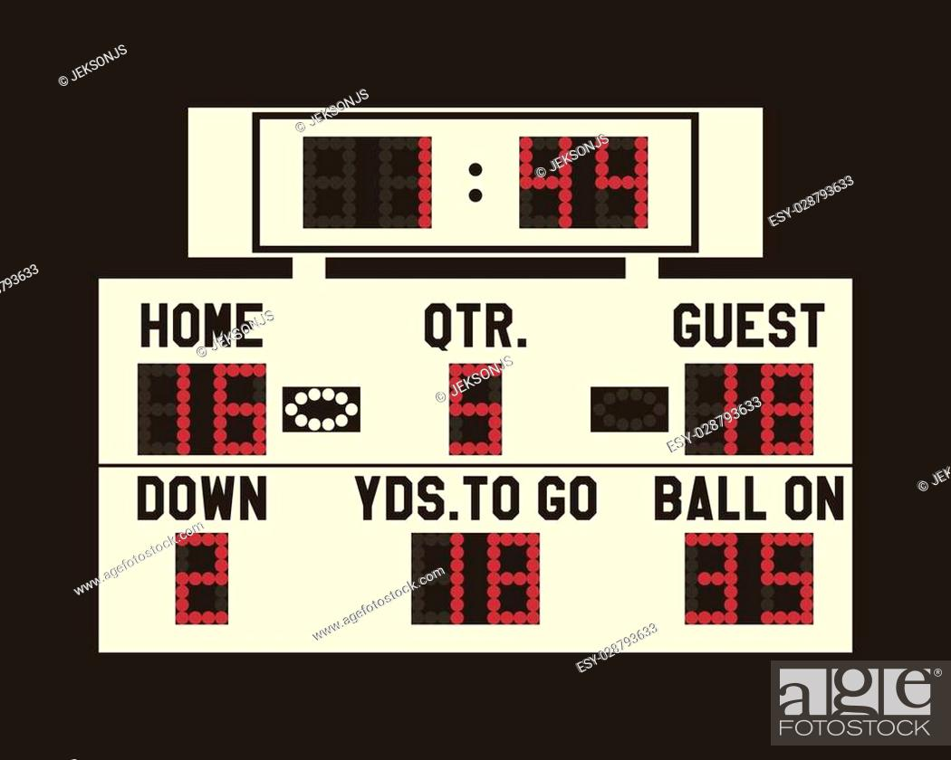 Vector: LED american football scoreboard with fully editable data, timer and space for user info. Usa sports board for web, app or print. Flat stylish design.