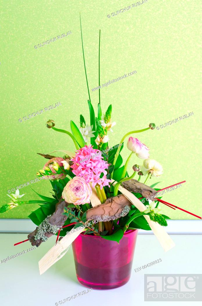 Stock Photo: bunch of flowers composition.
