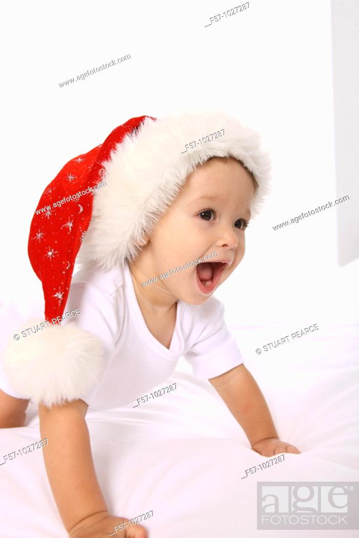 Stock Photo: Toddler with Santa cap.