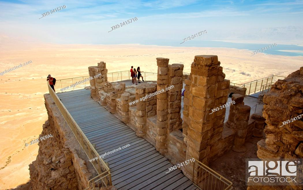 Stock Photo: Lower terrace in the North Palace of King Herod, Masada National Park, Masada, Dead Sea, Judean Desert, Israel.