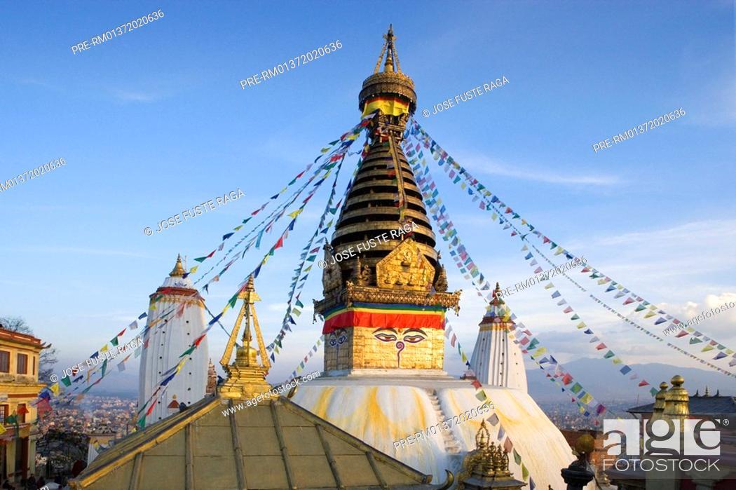 Stock Photo: The Swayambhunath Stupa, Katmandu City, Nepal, Asia.
