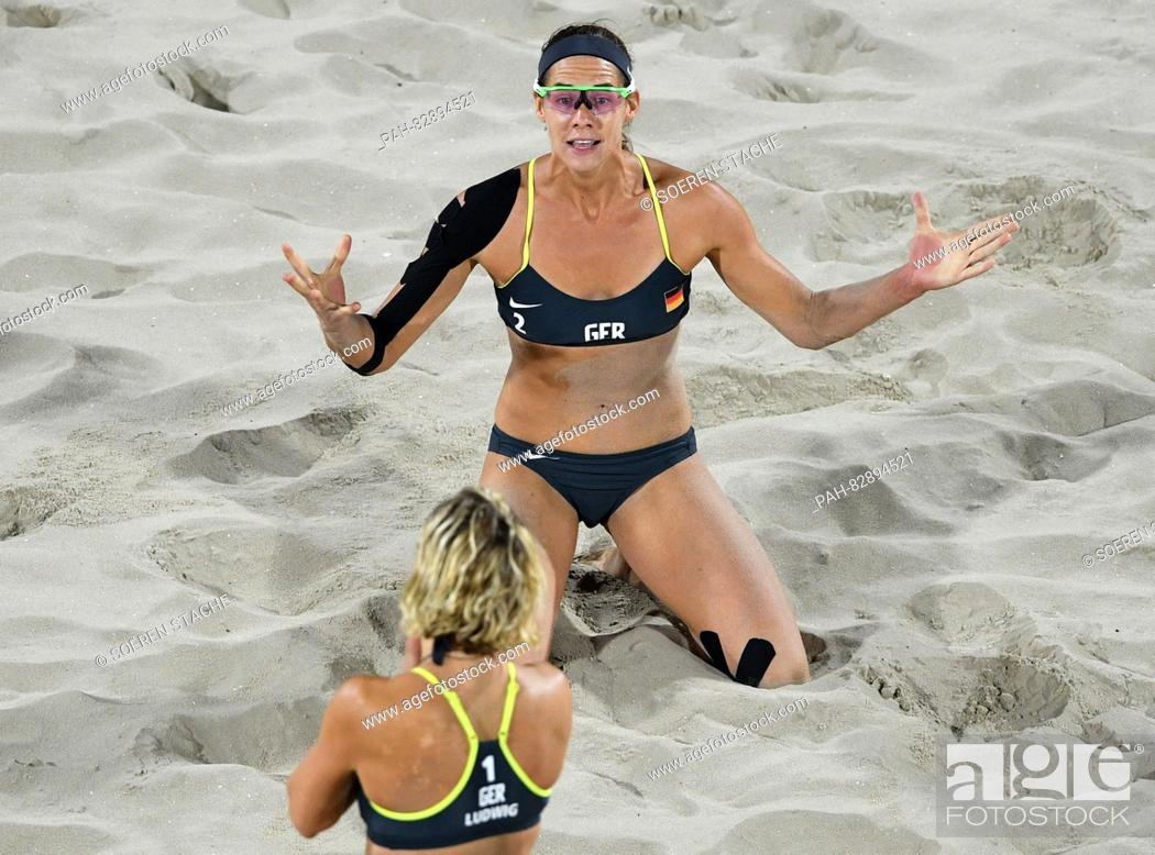 Kira Walkenhorst Behind And Laura Ludwig Of Germany Celebrate After Winning The Women S Beach Stock Photo Picture And Rights Managed Image Pic Pah 82894521 Agefotostock