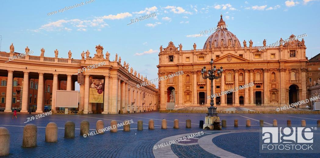 Photo de stock: St Peter's Basilica and square at dawn, Rome, Lazio, Italy, Europe.