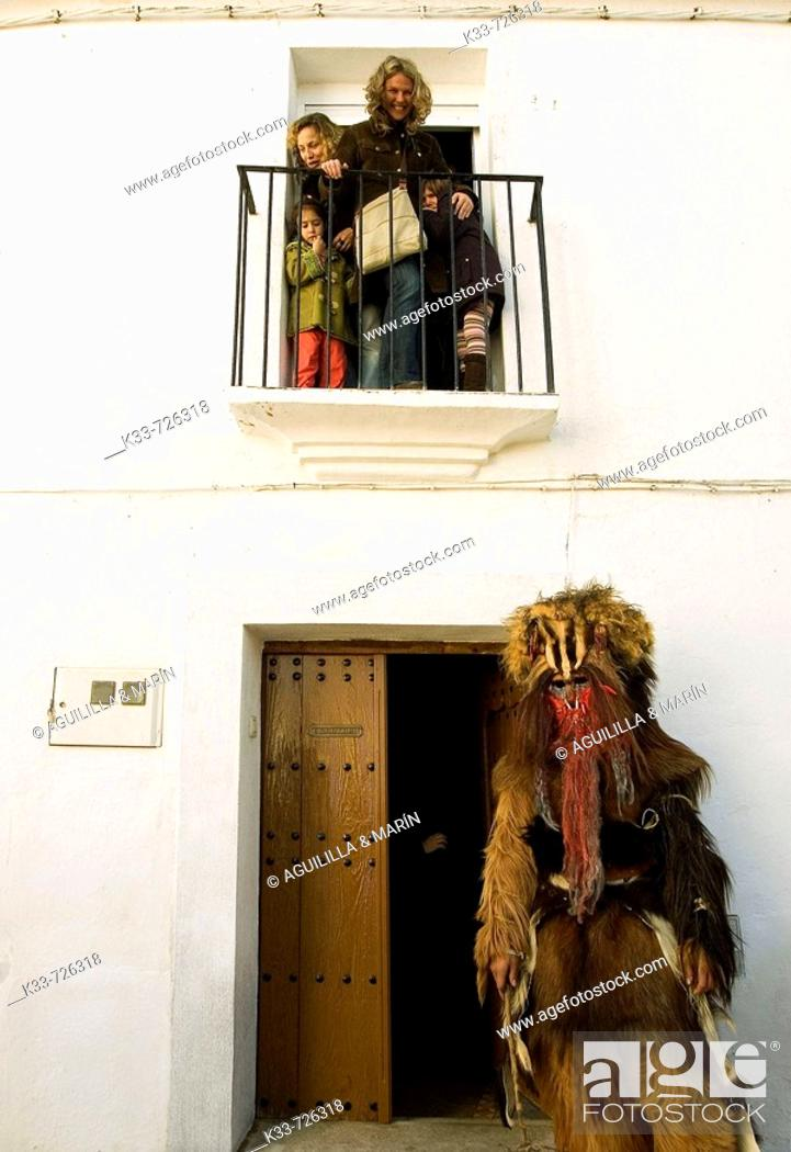 Stock Photo: Las Carantoñas festival, Acehuche, Cáceres province, Spain.