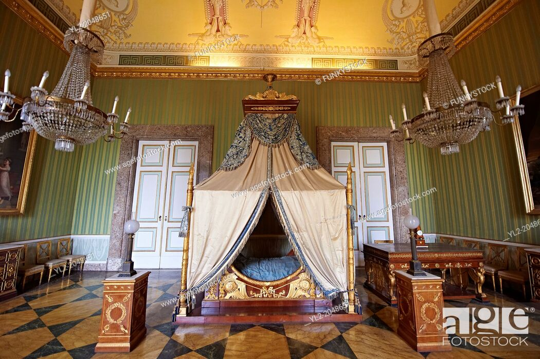 "Stock Photo: """"""""""The bedroom of Joachim Murat"""" is decorated in the Empire style and comes from the Royal Palace of Portici, the favourite palace of Joachim Murat and."