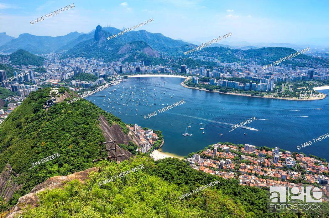 Stock Photo: View over Botafogo and the Corcovado from the Sugar Loaf Mountain, Rio de Janeiro, Brazil.