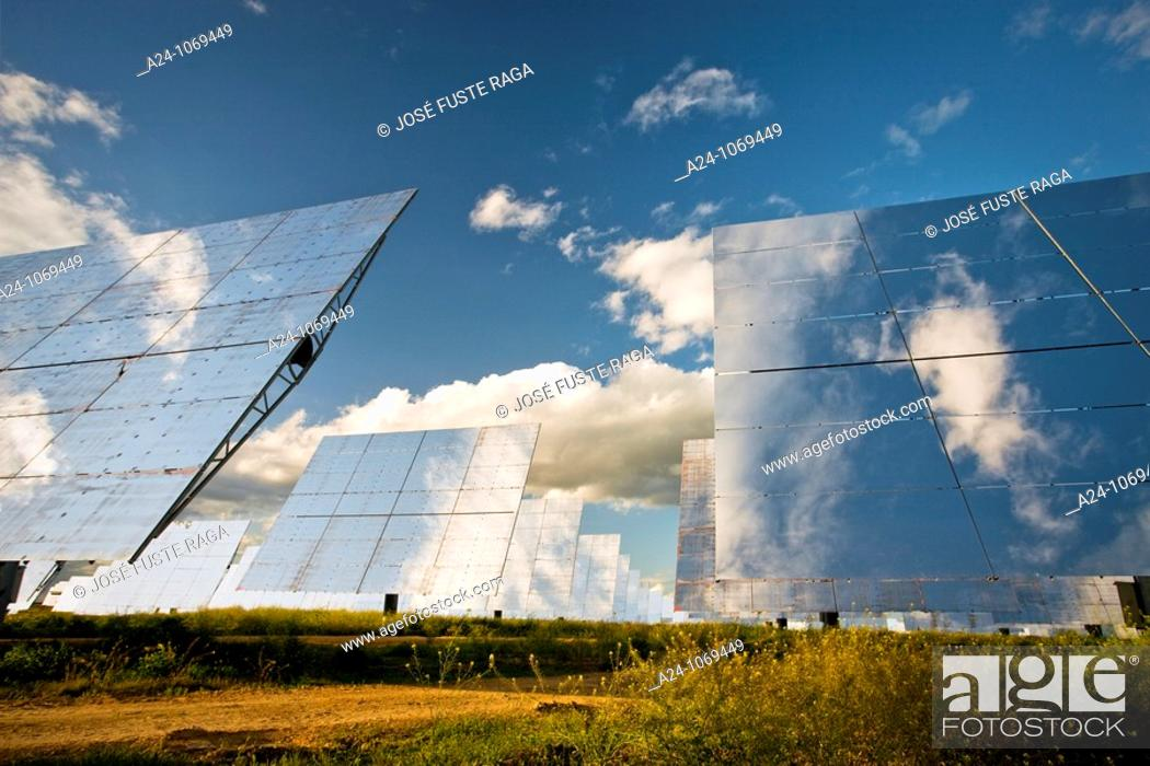 Stock Photo: Solar thermal energy power plant in Sanlúcar la Mayor, near Seville, Andalusia, Spain.