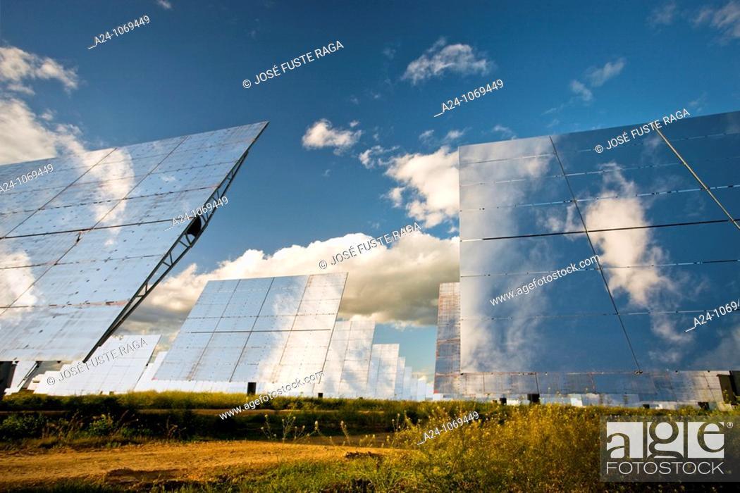 Stock Photo: Solar thermal energy power plant in Sanlúcar la Mayor, near Seville, Andalusia, Spain.