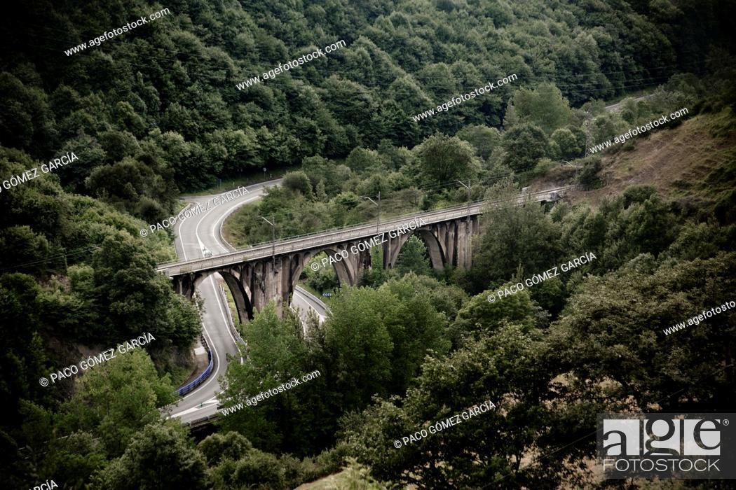 Stock Photo: Las Fuentes railway bridge  Asturias  Spain  Europe.