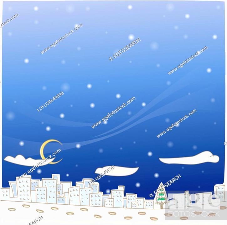 Stock Photo: snowing, outdoors, snow, winter, season, city, background.