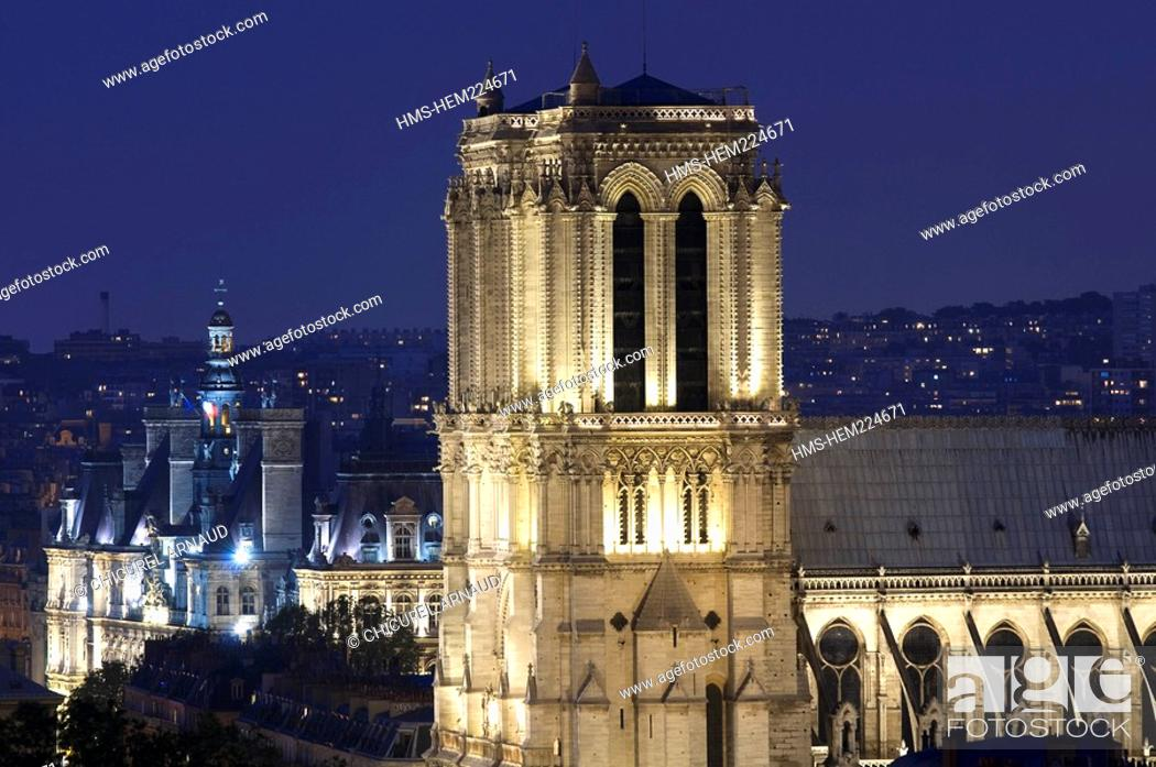 Stock Photo: France, Paris, Notre Dame Cathedral and the Hotel de Ville city hall on the left illuminated.