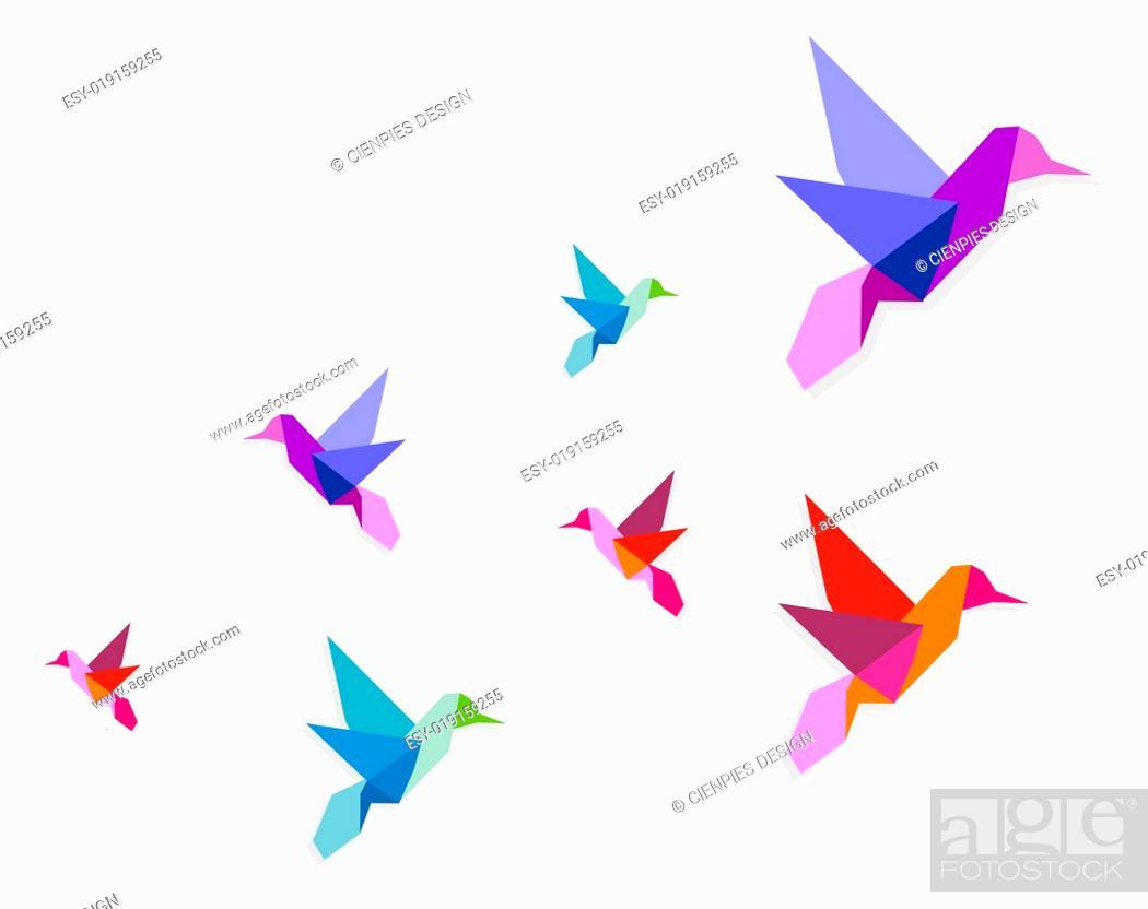 Stock Photo: Group of various Origami hummingbirds.
