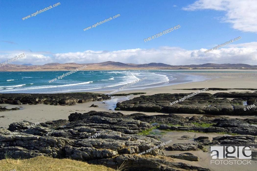 Stock Photo: View of rocks, sandy beach and sea, Ardnave, Islay, Inner Hebrides, Scotland.