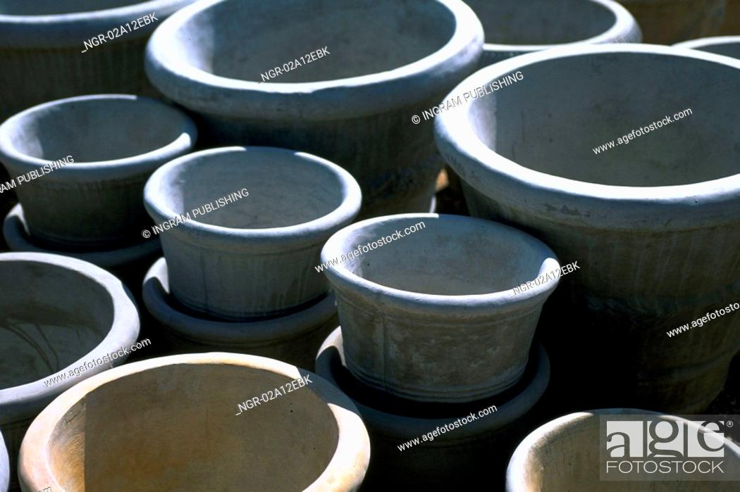 Stock Photo: High angle view of empty flower pots.