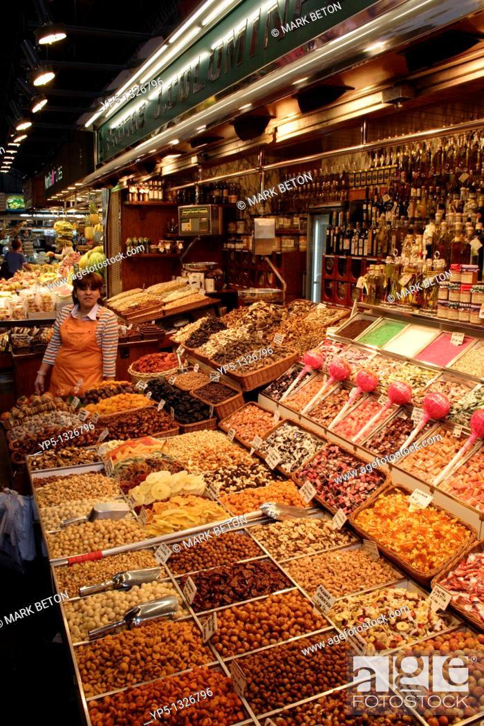 Stock Photo: Confectionary and nuts stall Mercat de la Boqueria Barcelona.