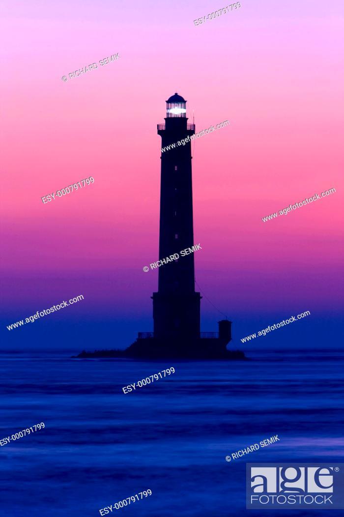 Stock Photo: lighthouse, Cap de la Hague, Normandy, France.