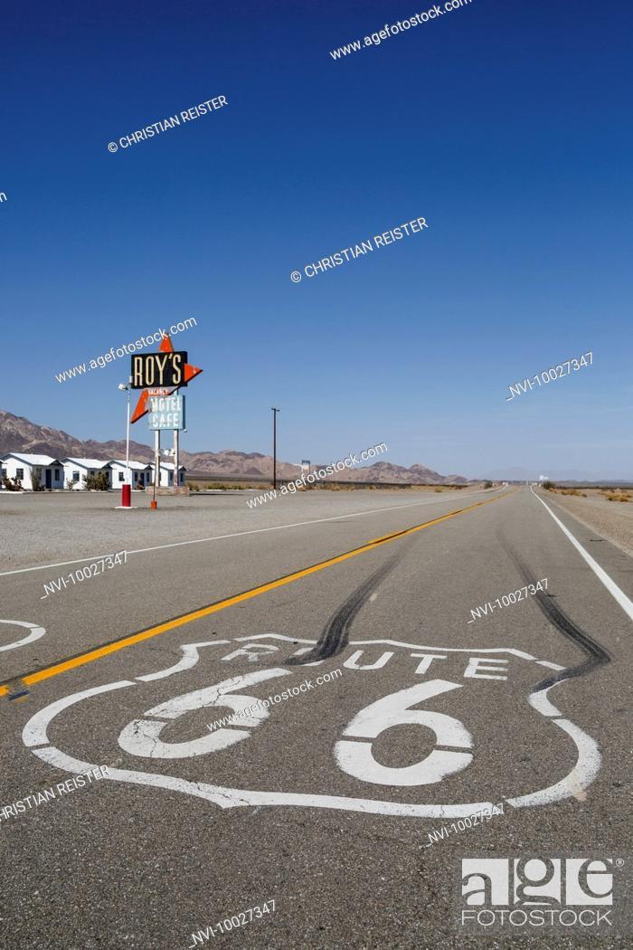 Stock Photo: Roy's Motel and Café, Amboy, Mojave Desert, San Bernardino County, California, United States.