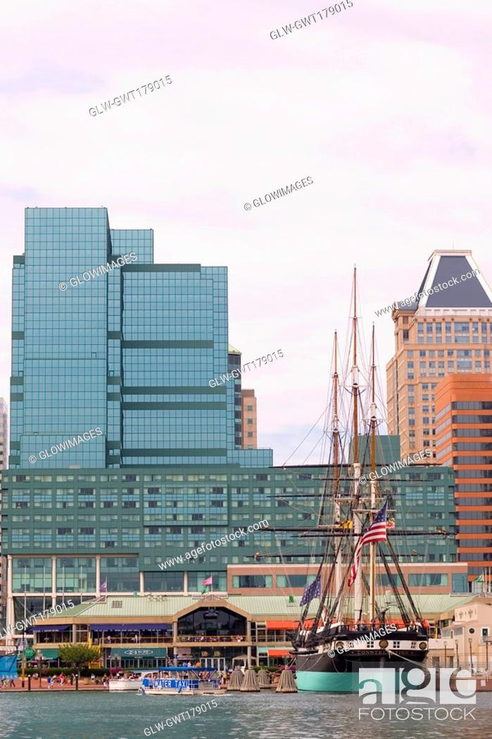 Stock Photo: Tall ship moored at a harbor, USS Constellation, Inner Harbor, Baltimore, Maryland, USA.