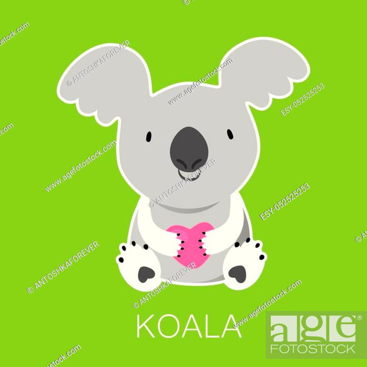 Stock Vector: Koala Bear with heart. Australian marsupial bear. Vector Illustration.