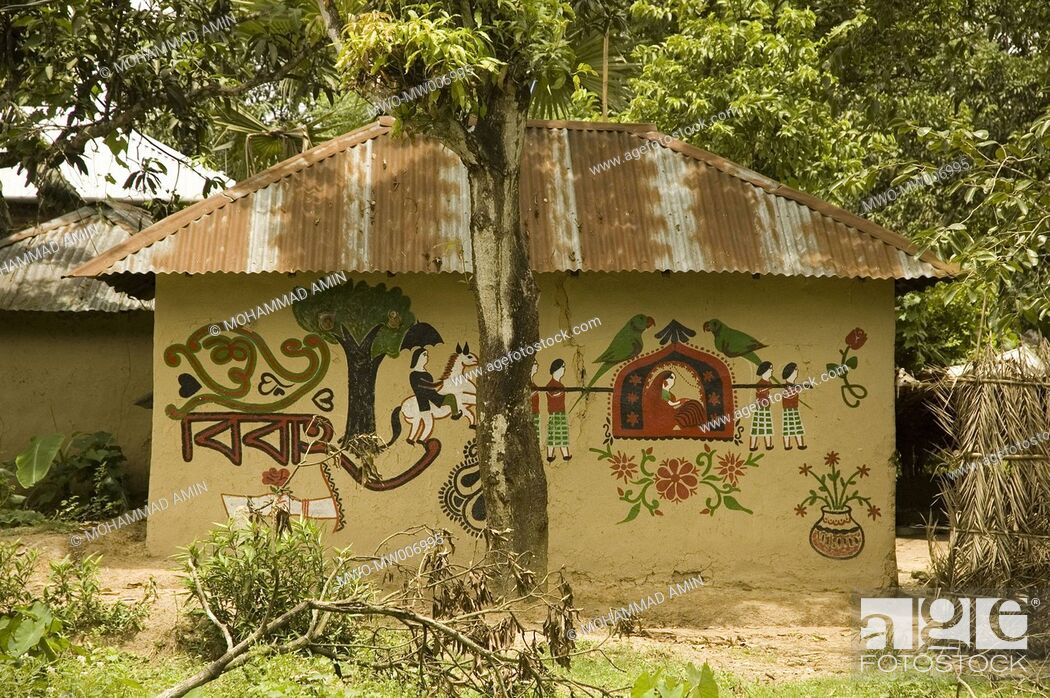 Painting on the wall of a mud house in a village valuka for Bangladeshi house image