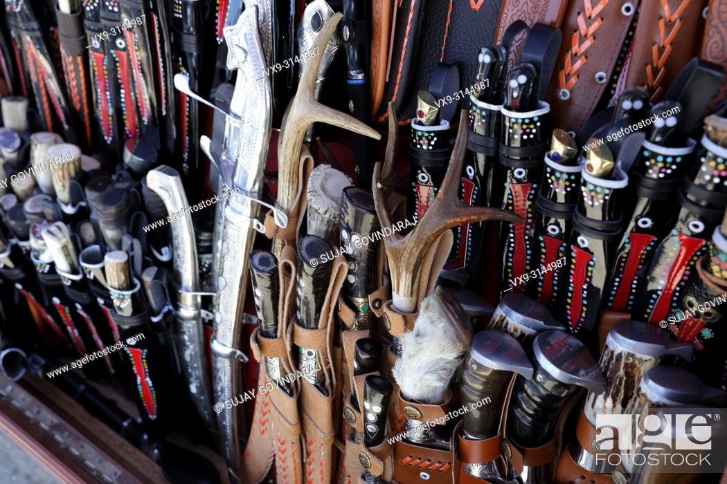 Stock Photo: Close-up of traditional knives, daggers and swords used by Uzbeks of Central Asia.