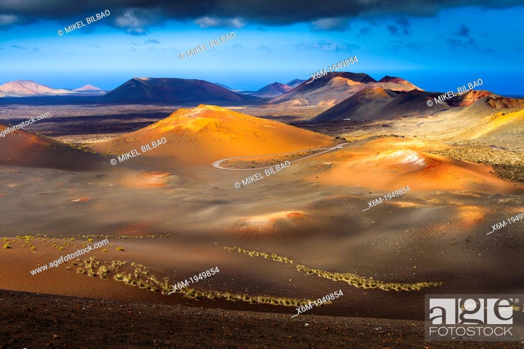 Stock Photo: Volcanic landscape. Timanfaya National Park. Lanzarote, Canary Islands, Atlantic Ocean, Spain.