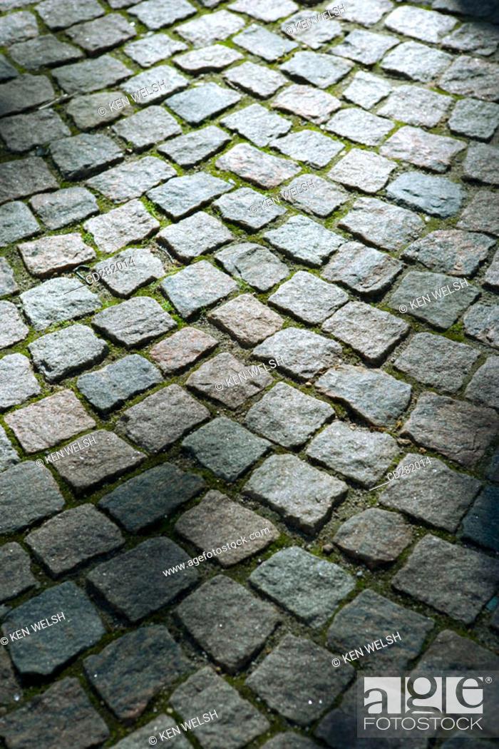 Stock Photo: Cobble stone pattern outside Vor Frelsers Kirke, Copenhagen, Denmark.