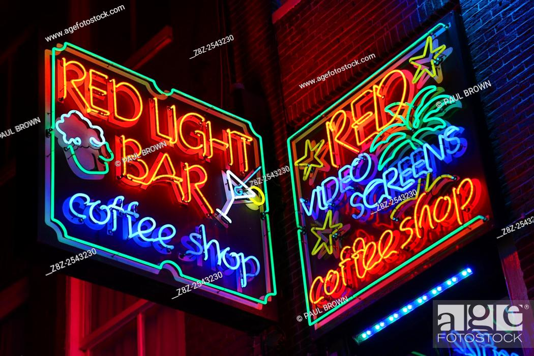 Neon lights of the red light bar coffeeshop where taking and smoking stock photo neon lights of the red light bar coffeeshop where taking and smoking drugs like marijuana is legal in the red light district in amsterdam aloadofball Image collections