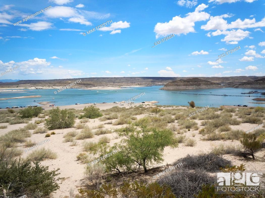 Stock Photo: Elephant Butte lake, New Mexico. Water low, drought condition. A favorite spot for boaters at holiday time.