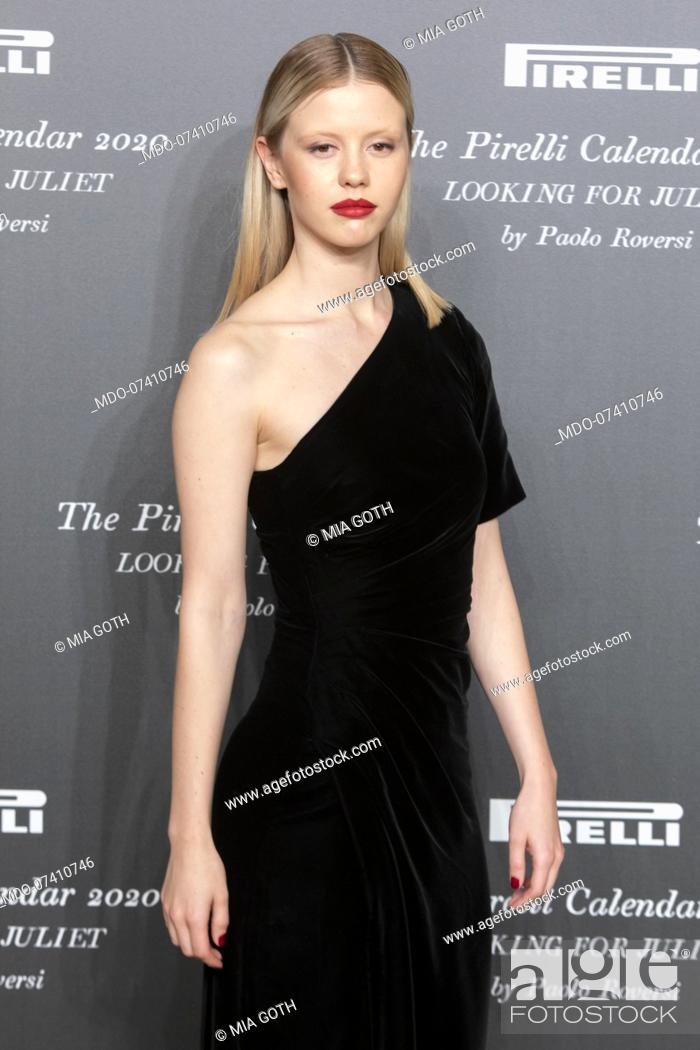 Stock Photo: British actress Mia Goth during the presentation of the Pirelli 2020 Calendar at the Verona Philharmonic Theater. Verona (Italy), December 3rd, 2019.