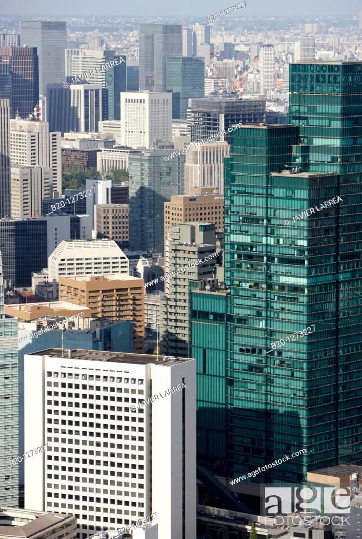 Stock Photo: Izumi Garden Tower, Tokyo City View, Roppongi Hills Mori Tower, Tokyo, Japan.