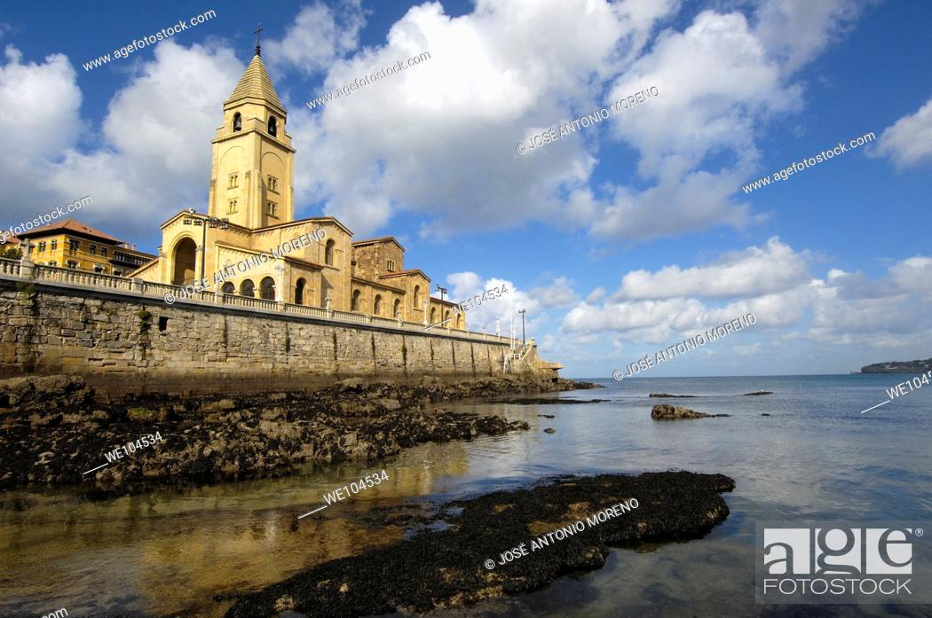 Stock Photo: San Pedro Church, Gijon, Asturias, Spain.