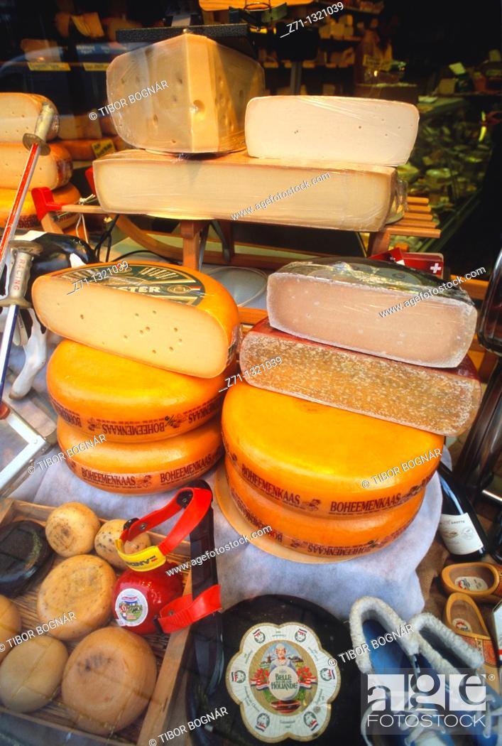 Stock Photo: Netherlands, Leiden, cheese shop.