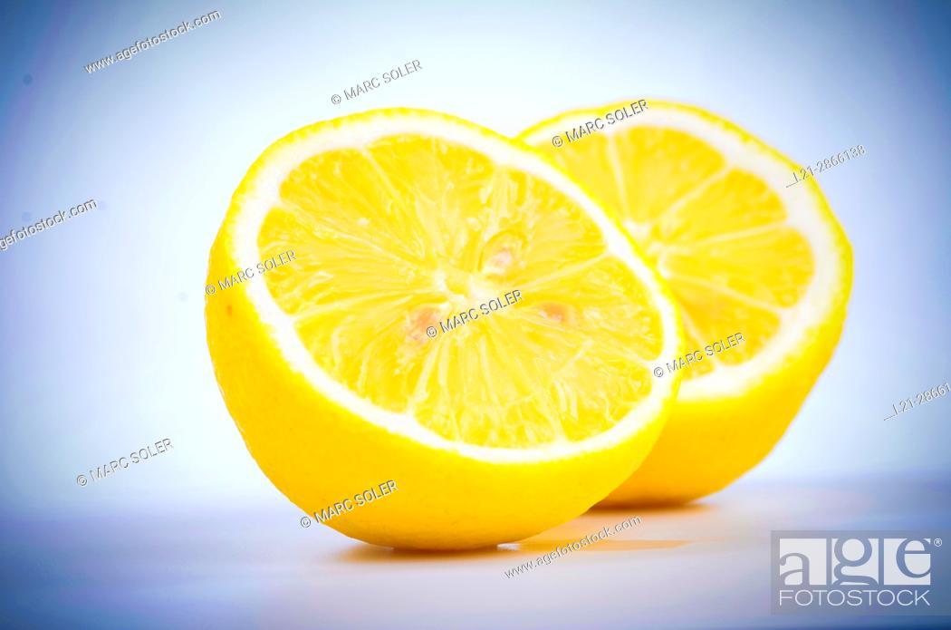 Stock Photo: The two halves of a lemon.