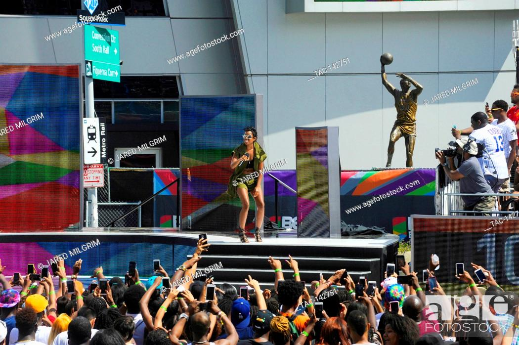 Stock Photo: Dej Loaf performs at the live filming of BET 106 & Park at LA Live during the BET EXPERIENCE on June 26th, 2015 in Los Angeles, California.