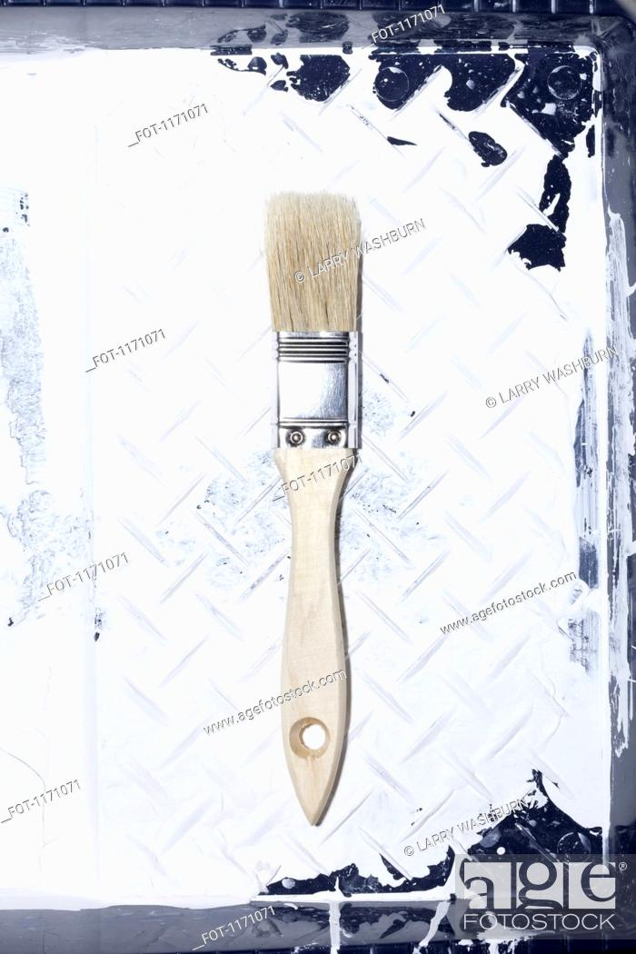 Stock Photo: A clean house painting brush lying in a used paint tray with old paint on it.