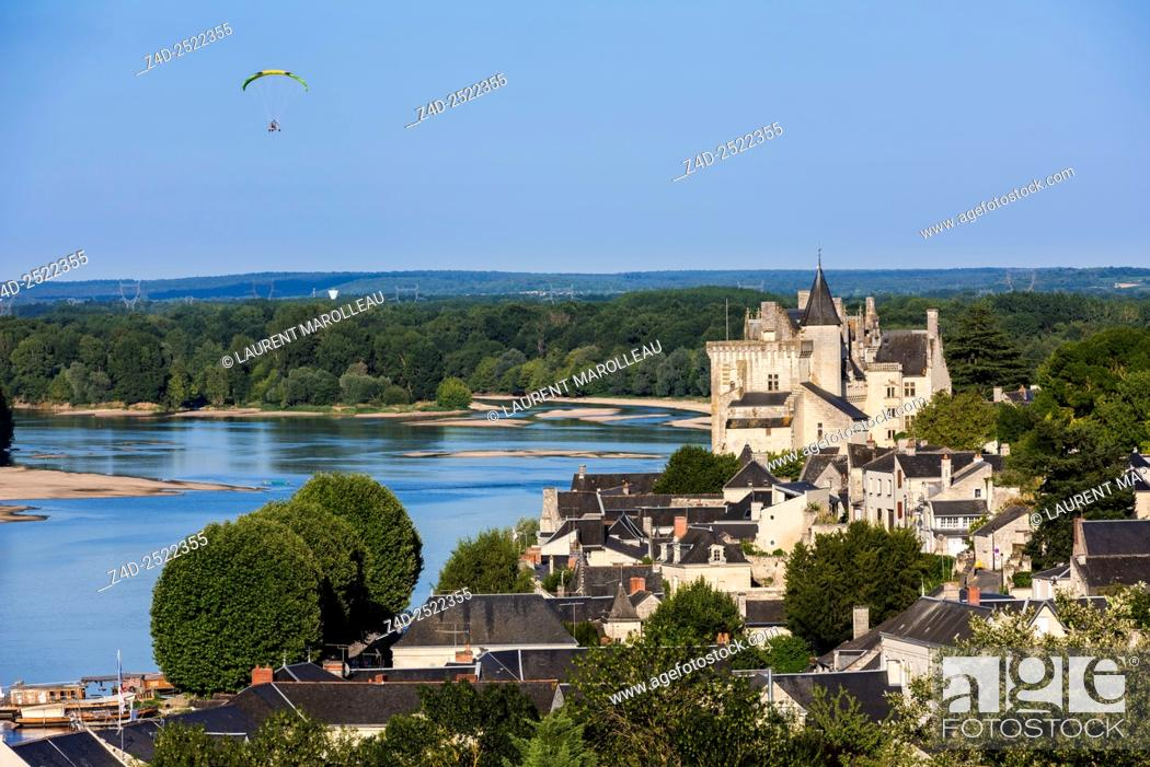 Stock Photo: Castle of Montsoreau along the Loire and Vienne Rivers. Montsoreau (Labeled The Most Beautiful Villages of France), Maine-et-Loire, Pays de la Loire region.