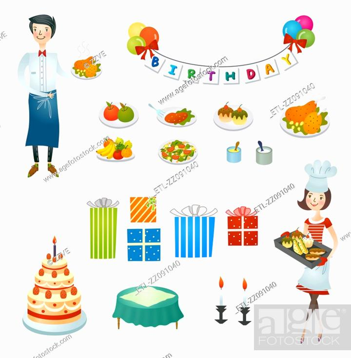Stock Photo: Couple making Preparation of birthday.