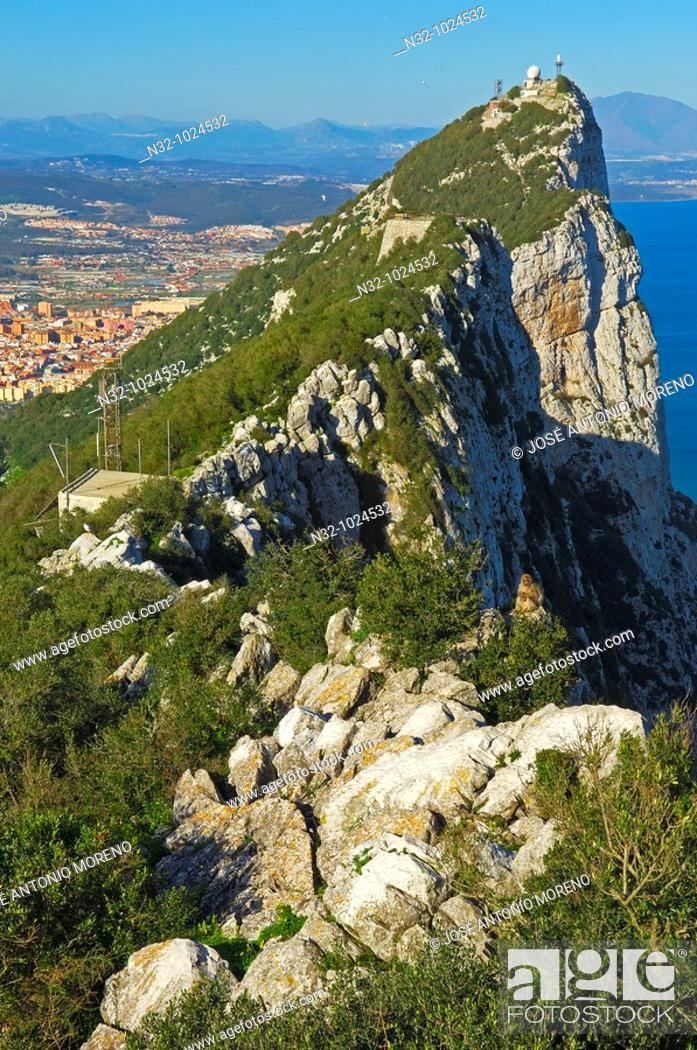 Stock Photo: Top Of The Rock. Across Gibraltar To Spain. Gibraltar. UK.