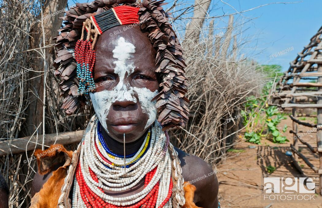 Stock Photo: Korcho Ethiopia Africa village Lower Omo Valley Karo tribe with painted faces 25.
