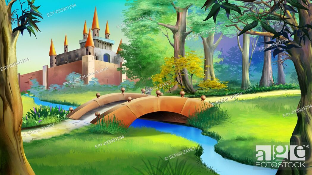 Stock Photo: Landscape with Fairy tale castle in a forest and small bridge over the blue river. Digital painting background, Illustration in cartoon style character.